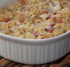 Italian Margarita Macaroni and cheese recipe for a party, appetizer, or vegetarian main course www.wishesndishes.com