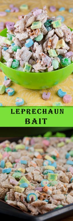 Easy St. Patrick's day leprechaun bait chex party mix recipe! This is a great treat for teacher's gifts, party favors for kids, snack, or dessert idea for the holiday!