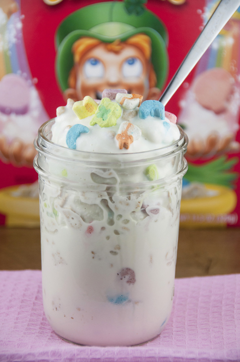 Lucky Charms Blizzard Ice Cream dessert recipe.  Great for St. Patrick's day or any occasion!