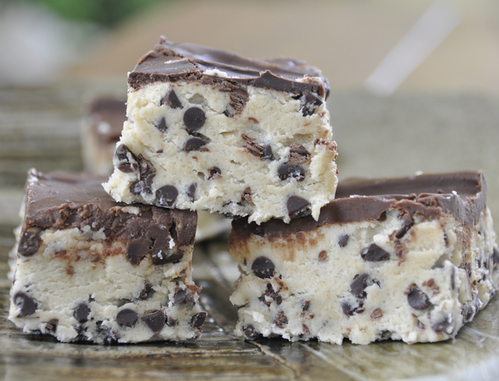 No Bake Chocolate Chip Cookie Dough Bars {Wishes & Dishes}