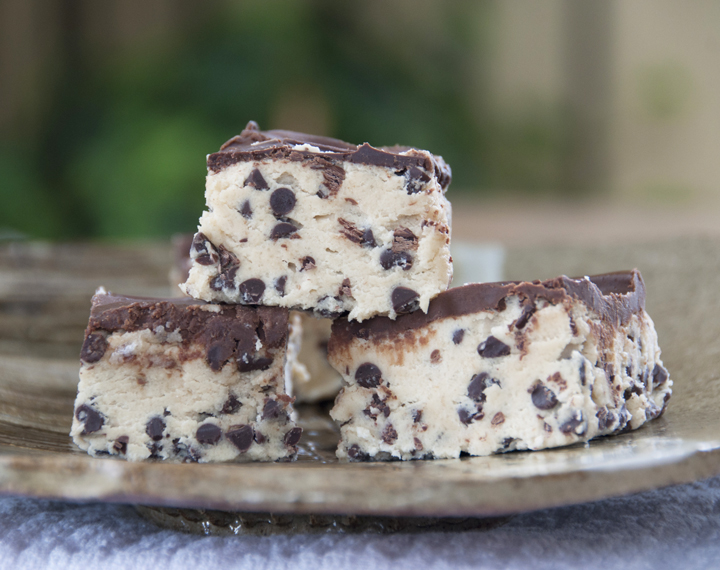 Chocolate Chip Cookie Dough Bars recipe make for an easy dessert.  They are no bake and contain no eggs!