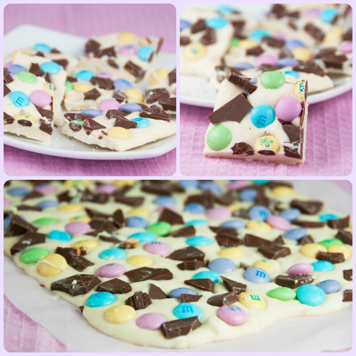 Easter Bunny Bark that can be made with any chopped up Easter candy and then pressed into melted white chocolate: super fun and sweet dessert for the holiday! This is easy to make and would be great to give as Easter gifts in little cellophane bags.