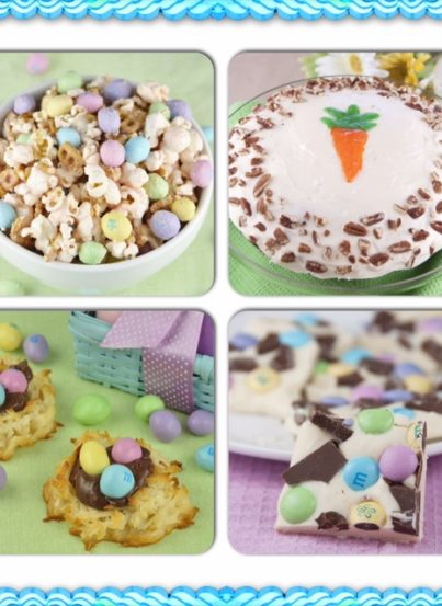 A collection of Easter recipe ideas for dessert, main course, appetizer, and drink.