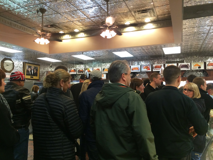 the crowd at Mike's Pastry in Boston