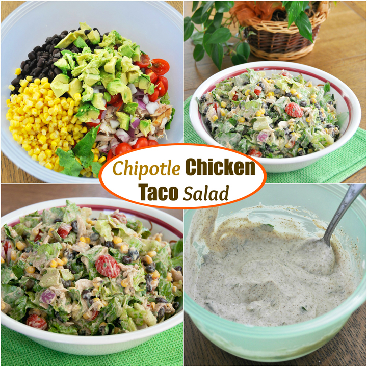 Chipotle Chicken Taco Salad recipe is loaded with veggies, healthy, gluten free, and great for Taco night.