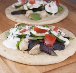 Grilled Greek Chicken Pitas with Tzatziki Sauce. Easy recipe for summer grilling.