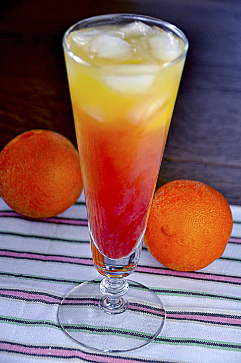 Tequila Sunrise alcoholic drink: grenadine, orange juice, and tequila.  Great for Cinco de Mayo!