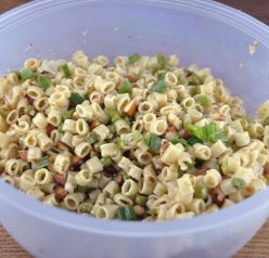 Pasta with Peas Smoked Almonds and Dill recipe makes a great side dish when grilling out. Can also be a main vegetarian course.