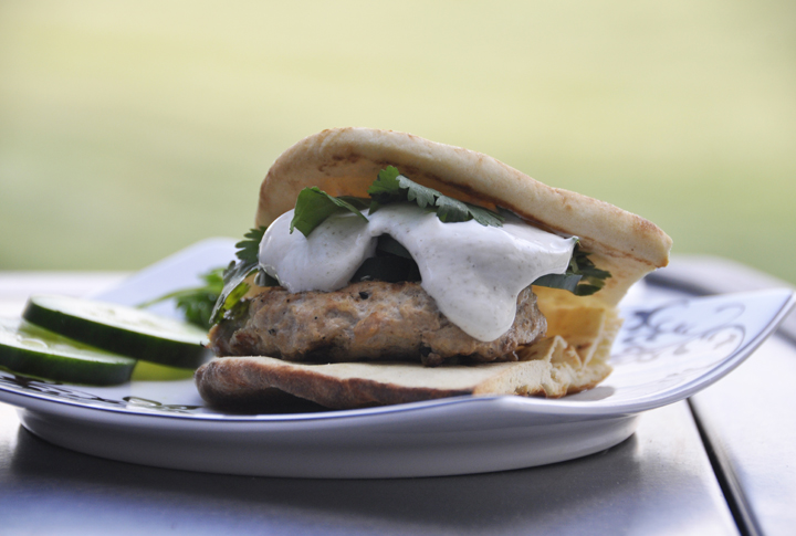 Tandoori Chicken Burger recipe made on naan bread perfect for any summer BBQ, picnic, or fourth of July cook out.