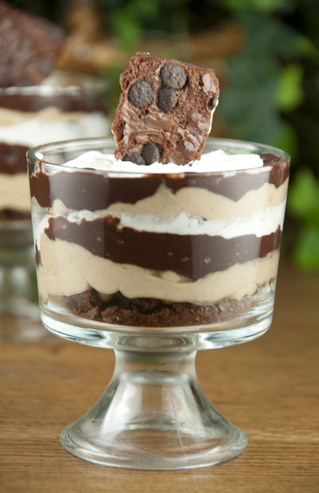 Brownie Brittle Chocolate Peanut Butter Parfaits made with chocolate chip Brownie Brittle for a rich, decadent dessert recipe idea for the chocolate lover in your life.
