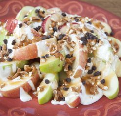 "Sweet and Salty Apple Nachos Recipe. If you love caramel apples, you will love these ""nachos"" for snack or dessert."