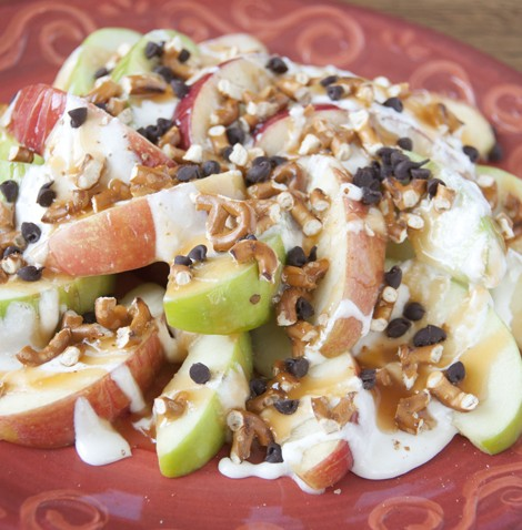 """Sweet and Salty Apple Nachos Recipe. If you love caramel apples, you will love these """"nachos"""" for snack or dessert."""
