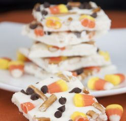Candy Corn White Chocolate Bark made with pretzels, chocolate chips, and candy: fun treat for kids for Halloween!