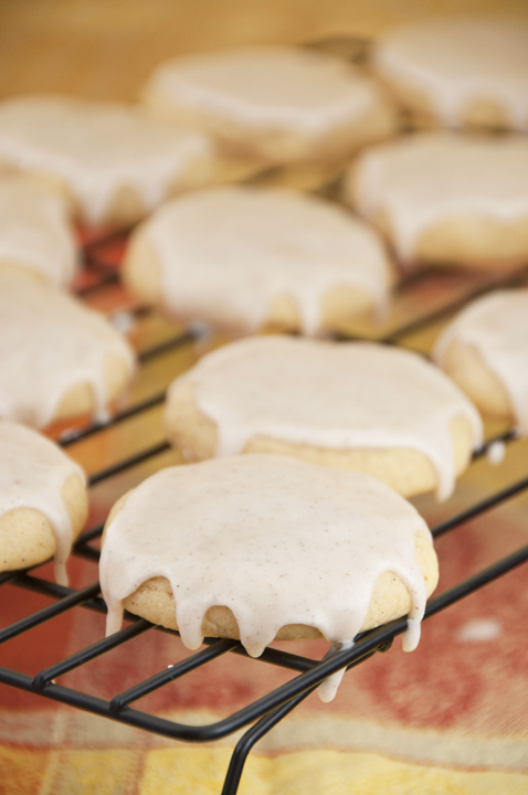 Soft and spicy pumpkin sugar cookies for Fall with a sweet glaze.
