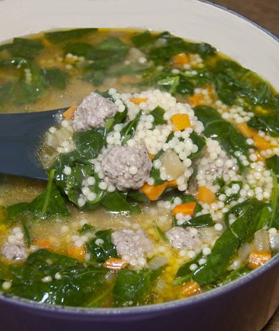 Mini meatballs made of ground beef and pork combined with fresh vegetables to make this delicious Italian soup. Great easy comfort food for cold nights!