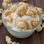 The soft serve ice cream is just soft enough to stir in crushed caramel popcorn, and for extra fun, is sprinkled with whole caramel popcorn and caramel drizzle.
