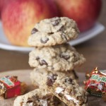 Ooey gooey stuffed cookies with chocolate and caramel apple Milky Ways make an easy and fun cookie for fall or Christmas.