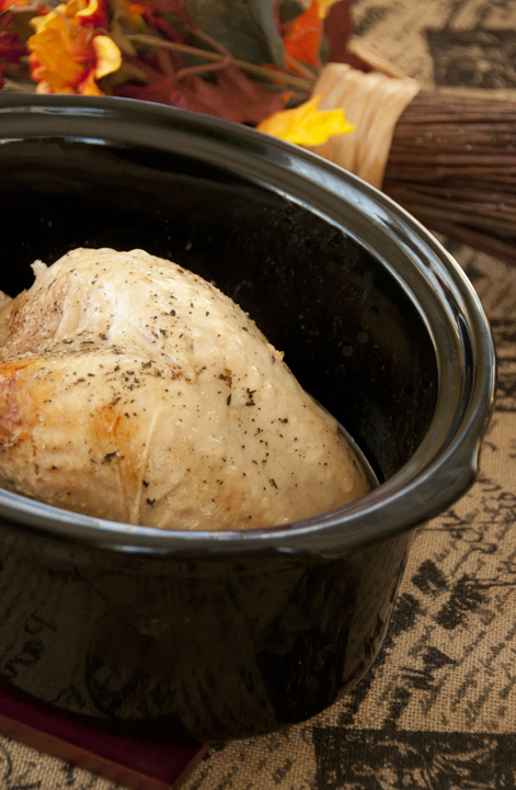 This moist, flavorful turkey breast made right in the crock pot will satisfy your turkey craving at any time of the year and free up your oven on Thanksgiving!