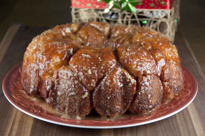 Cinnamon pull-apart bread, or monkey bread, for Christmas morning breakfast.