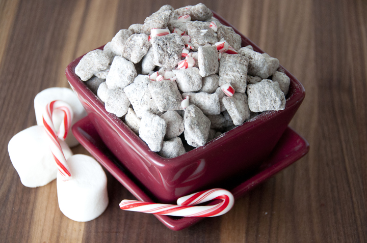 Hot Chocolate Puppy Chow made with Rice Chex, hot chocolate mix, and melted chocolate for an easy Christmas or winter snack!