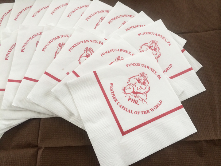 Punxsutawney Phil napkins for the Groundhog Day party.