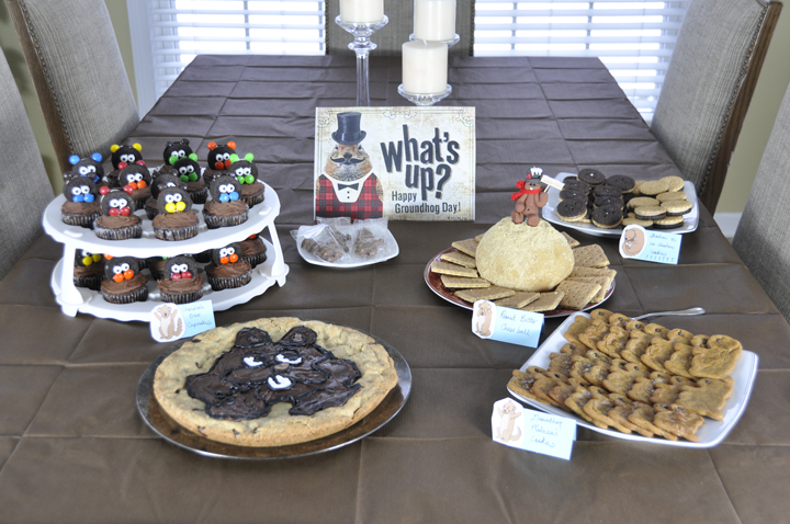 Groundhog Day Party food display.