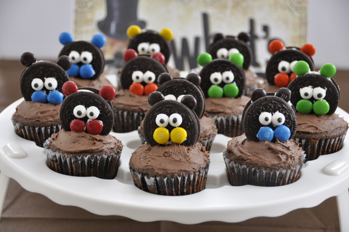 Groundhog Day Cupcakes I made with Oreos and M&M's for my party.