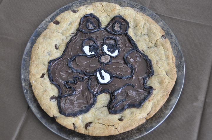 Groundhog Day chocolate chip cookie cake for dessert.