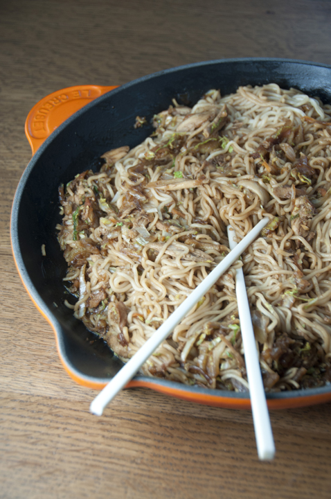 Chinese food at home: Panda Express copy cat recipe for chicken chow mein noodles.  Quick and easy.