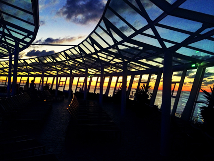 Beautiful sunset at the Solarium adult pool on Oasis of the Seas, Royal Caribbean.