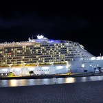 Oasis of the Seas all lit up at night while at port.