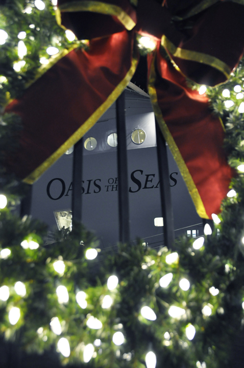 Oasis of the Seas cruise ship at night around Christmas time.