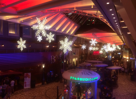 Royal Promenade at Christmas time on Oasis of the Seas cruise ship.