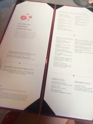 The menu at Sabor Mexican Restaurant and Tequila Bar on Oasis of the Seas.