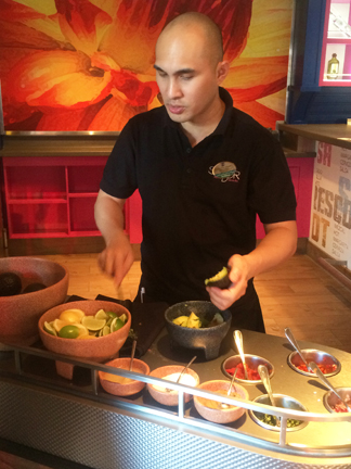 Making the homemade table side guacamole at Sabor Mexican Restaurant and Tequila Bar on Oasis of the Seas.