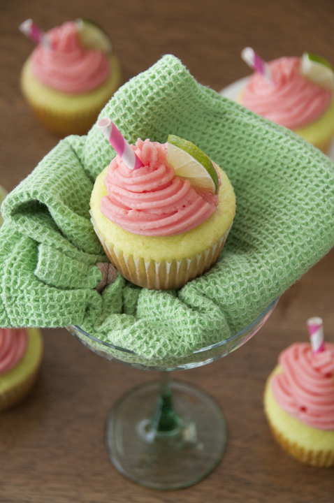 Strawberry Lime Margarita Cupcakes full of lime, tequila and strawberry frosting - a perfect dessert to celebrate Cinco de Mayo.