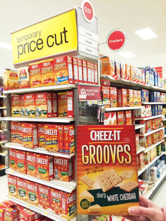 Shopping at Target for Cheez-It Grooves