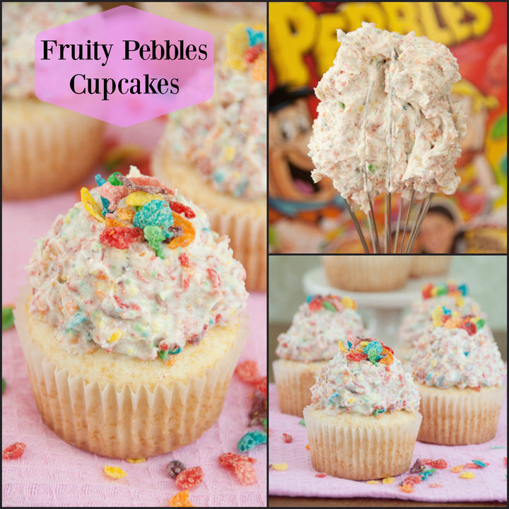 Fruity Pebbles Cupcakes recipe are simple vanilla cupcakes with a Fruity Pebbles buttercream frosting on top! Fun, creative dessert for kids!