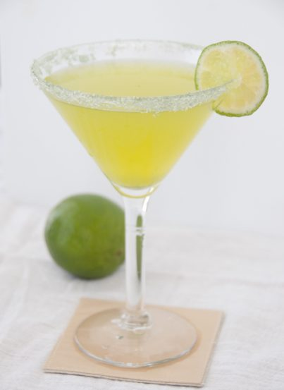 This recipe for a Key Lime Martini is just what it sounds like: a sweet and sour martini that tastes like a tropical slice of key lime pie.