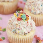 Vanilla Cupcakes with Fruity Pebbles Buttercream Frosting