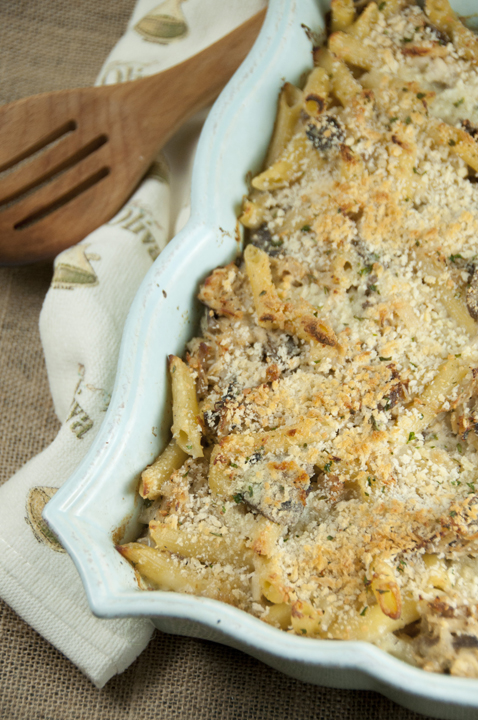 Baked Creamy Chicken Tetrazzini casserole recipe includes cooked  pasta in a garlic creamy herb sauce.