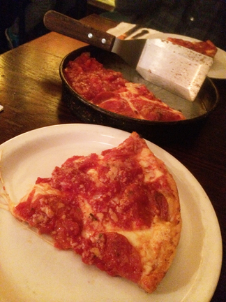 Lou Malnati's Deep Dish Pizzeria review in Chicago, Illinois.