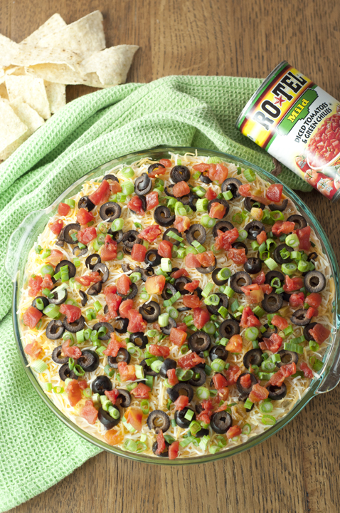 Mexican Fiesta Seven Layer Appetizer Dip using Rotel.