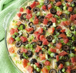 This dip has so many colorful layers of deliciousness. Refried beans, guacamole, sour cream, cheese, spicy tomatoes, olives and green onion make for the perfect party or game day appetizer.