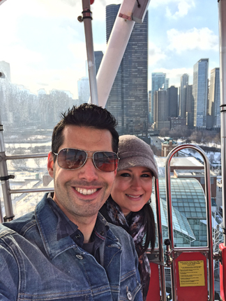 Riding the Ferris Wheel in Chicago at the Navy Pier