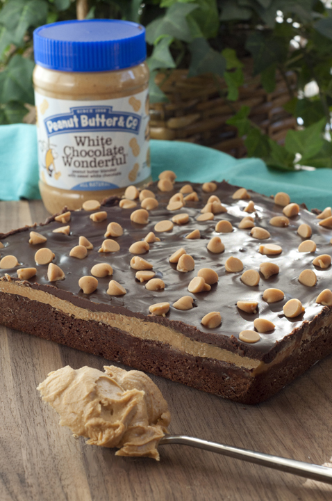 Peanut Butter Cookie Dough Brownies recipe using Peanut Butter & Co. White Chocolate Wonderful peanut butter.