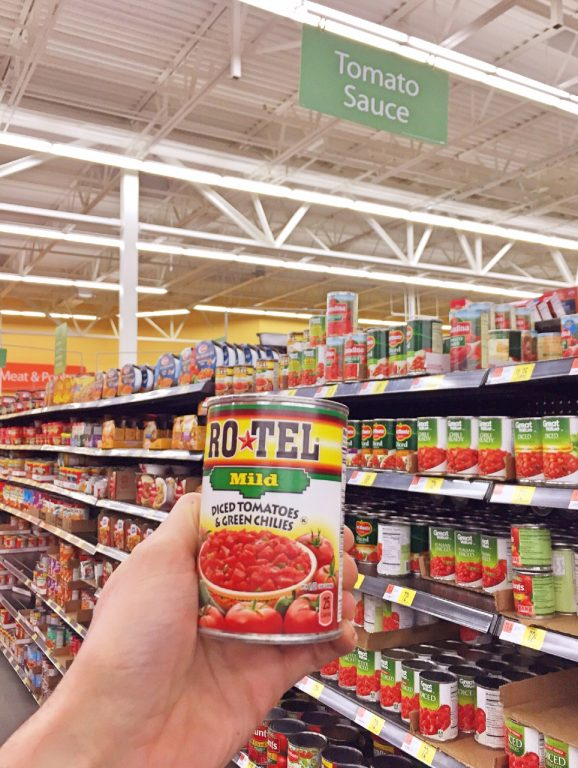 Shopping at Walmart for Rotel Tomatoes