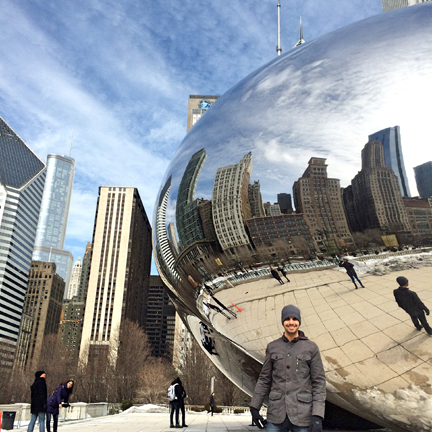 My husband at the Bean in Millennium Park, Chicago.