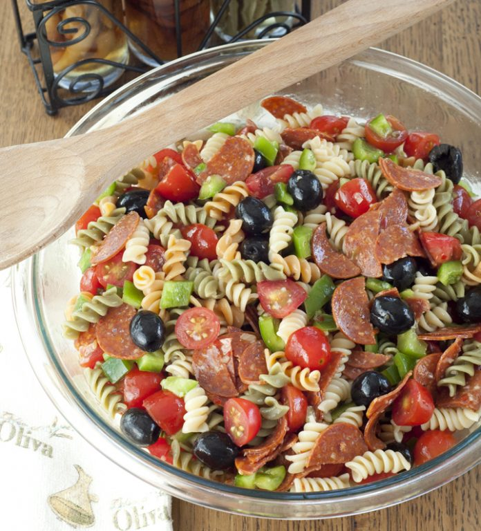 Classic Italian Pasta Salad for a Memorial day or 4th of July side dish.