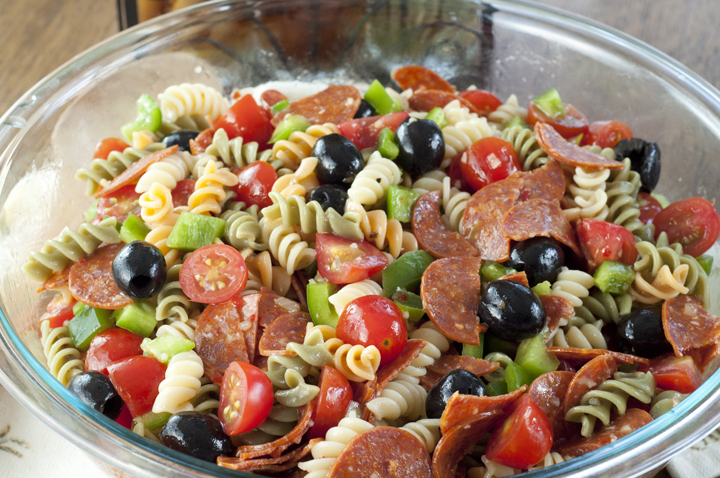 Classic Italian Pasta Salad with pepperoni for a Memorial day, 4th of ...